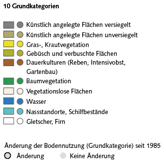 Legende zur Visualisierung der Bodenbedeckung der Arealstatistik im Geoportal Bund